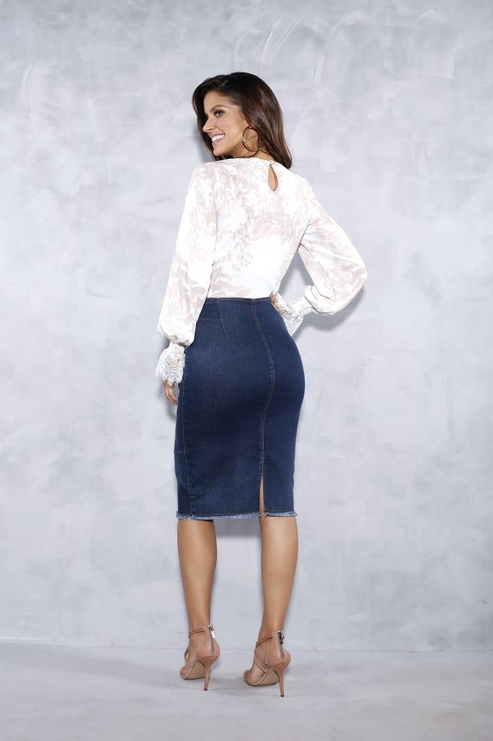 Saia Jeans Com Ziper Frontal - Titanium