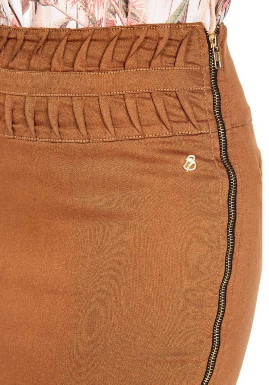 Saia Jeans Com Ziper Lateral e Drapiado No Cós - Via Tolentino