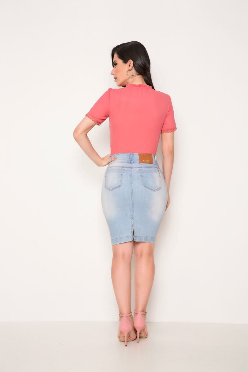 Saia jeans drapiado no bolso - laura rosa