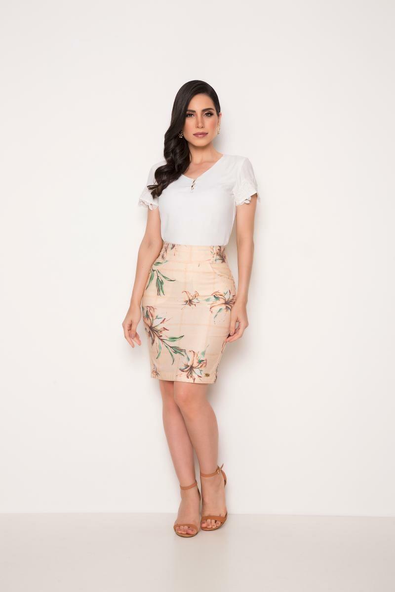Saia Jeans Estampada Floral - Laura Rosa