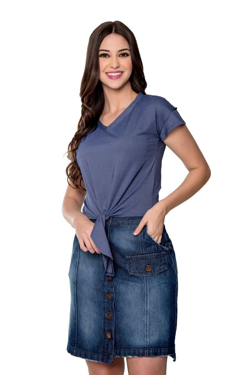 Saia Jeans Evase Com Botões Frontal - Hapuk