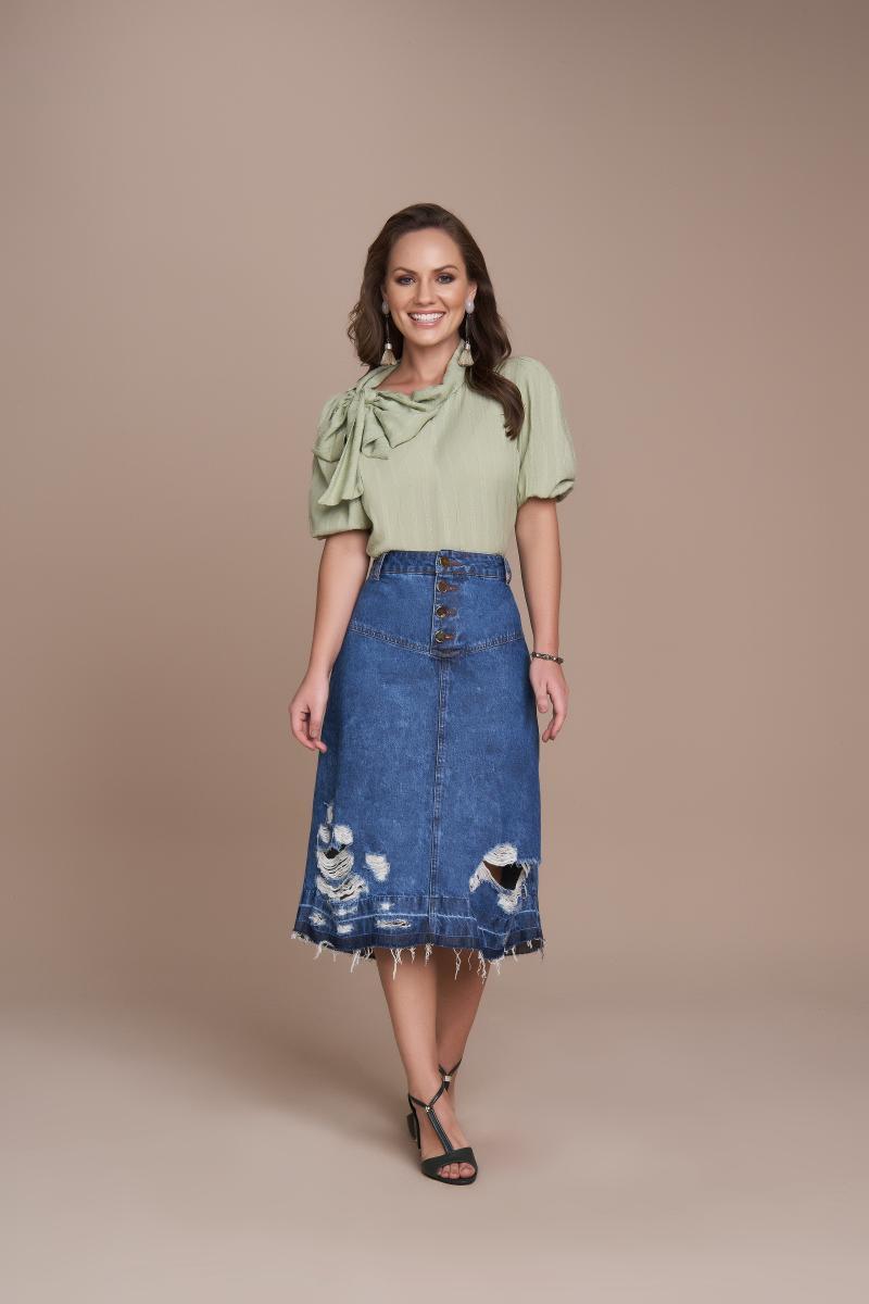 Saia Jeans Evasê Com Botões Frontal, Moda Evangélica - Titanium