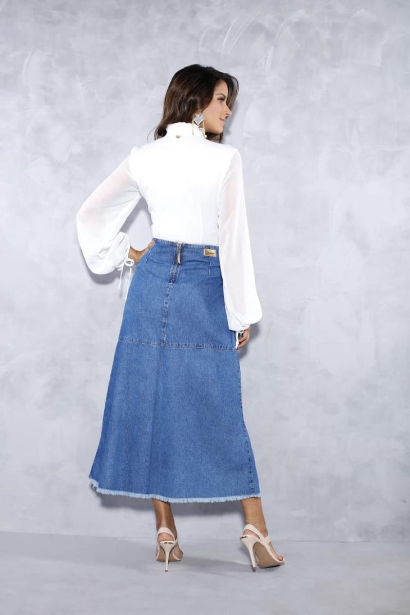 Saia Jeans Evasê Com Prega Frontal - Titanium