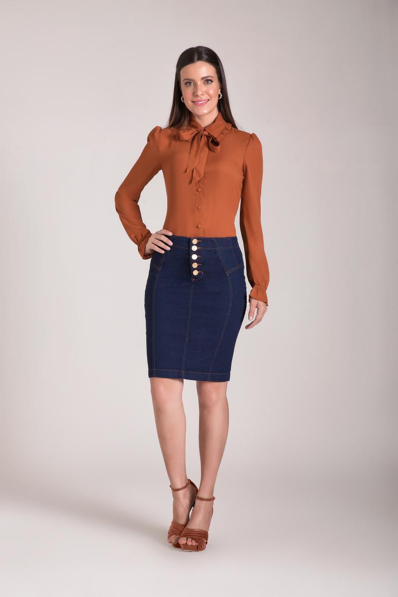 Saia Jeans Lápis 55cm Com 5 Botões Frontal, Moda Evangélica - Laura Rosa