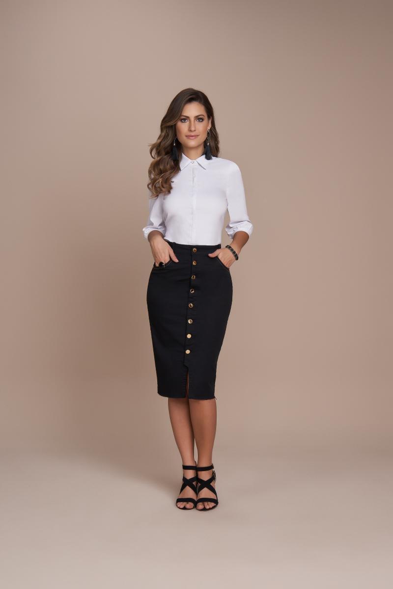 Saia Jeans Lápis 62cm Com Botões Frontal, Moda Evangélica - Titanium
