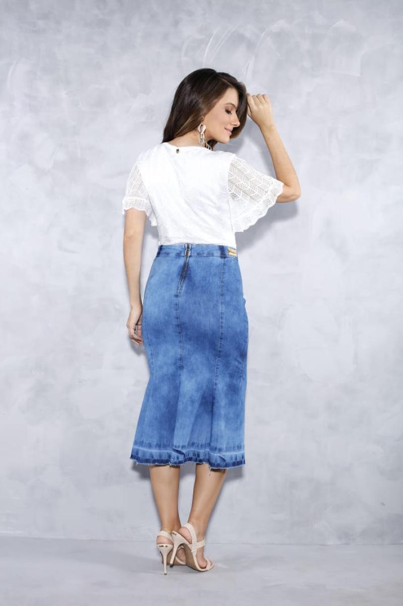 Saia Jeans Midi Com Trançado Frontal - Titanium