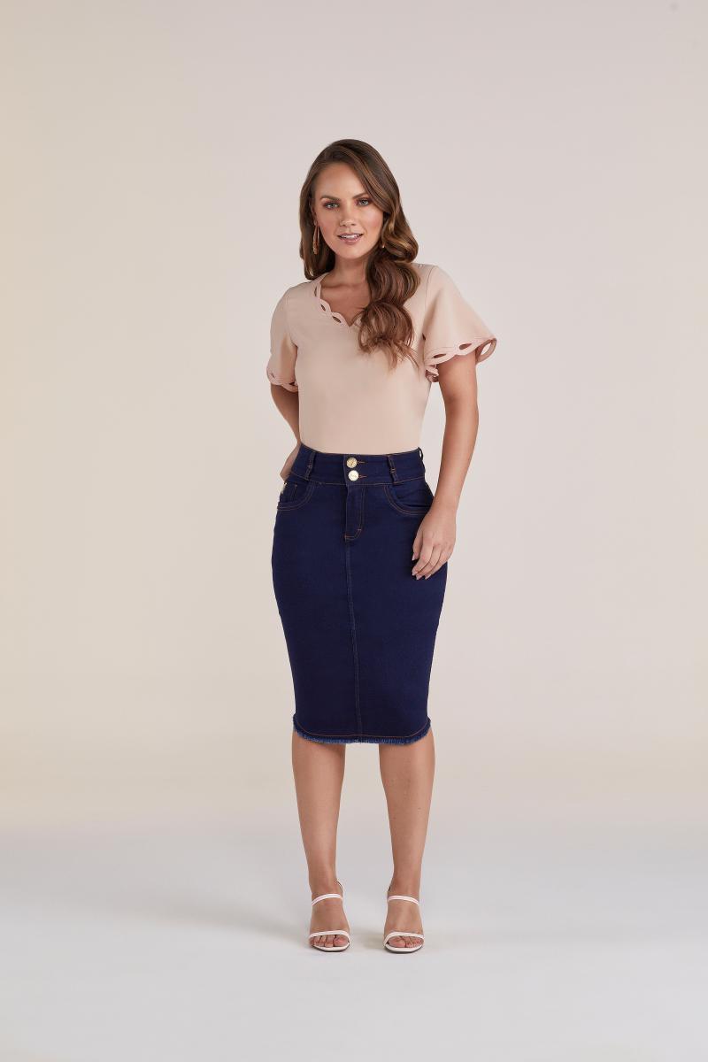Saia Jeans Midi Tradicional 62 cm - Titanium