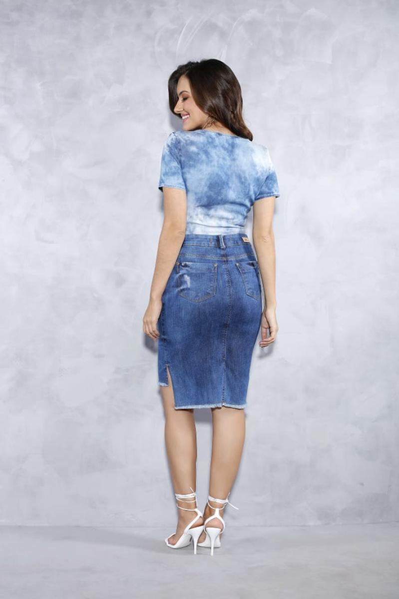 Saia Jeans Mullet Com Botões Frontal - Titanium