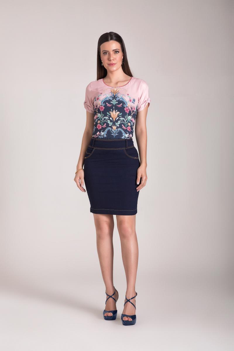 Saia Jeans Reta 50cm, Moda Evangélica - Laura Rosa