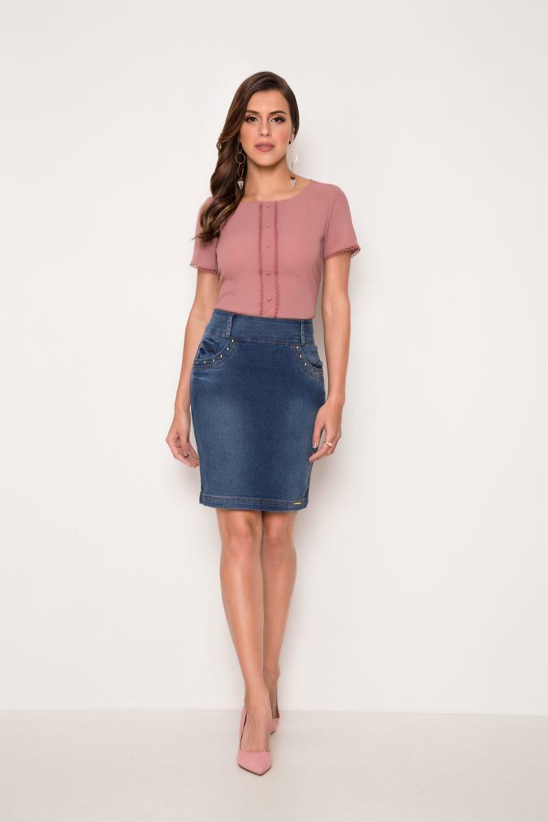 Saia jeans reta com botões na bolso - laura rosa