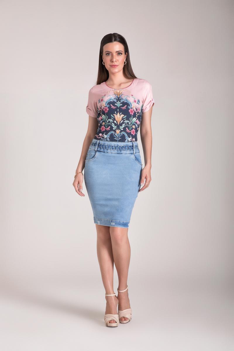Saia Jeans Reta, Trançado No Cós, Moda Evangélica - Laura Rosa