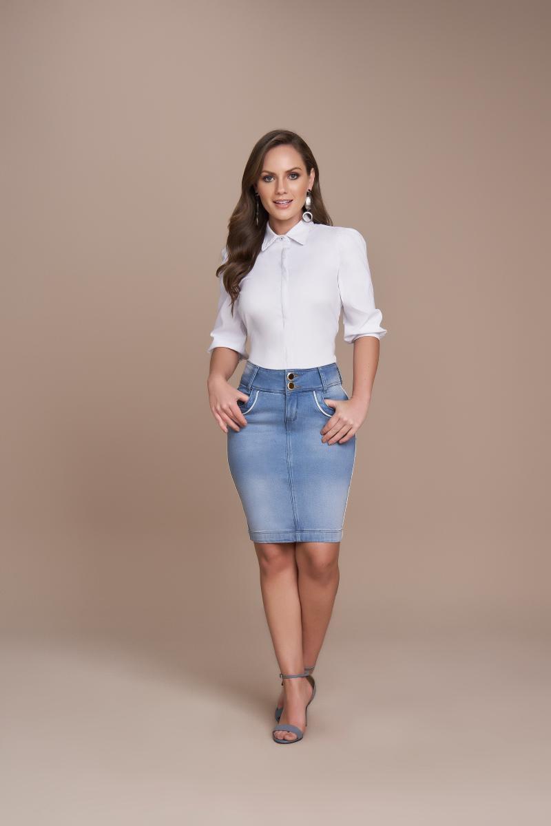 Saia Jeans Tradicional 50cm Com Detalhes No Bolso, Moda Evangélica - Titanium