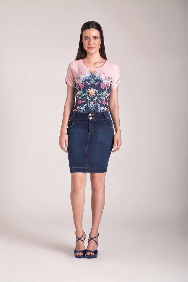 Saia jeans tradicional 50cm, moda evangélica - laura rosa