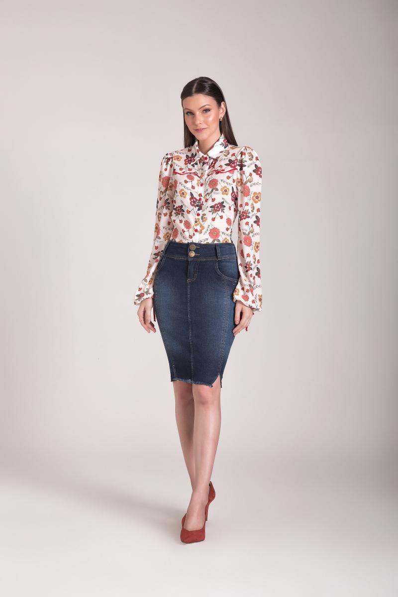 Saia Jeans Tradicional 55cm Com Desfiado Na Barra, Moda Evangélica - Laura Rosa