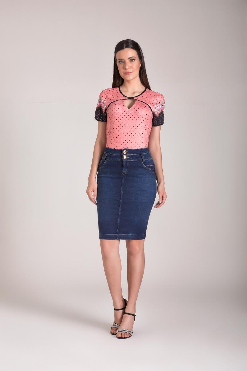 Saia Jeans Tradicional 55cm, Moda Evangélica - Laura Rosa