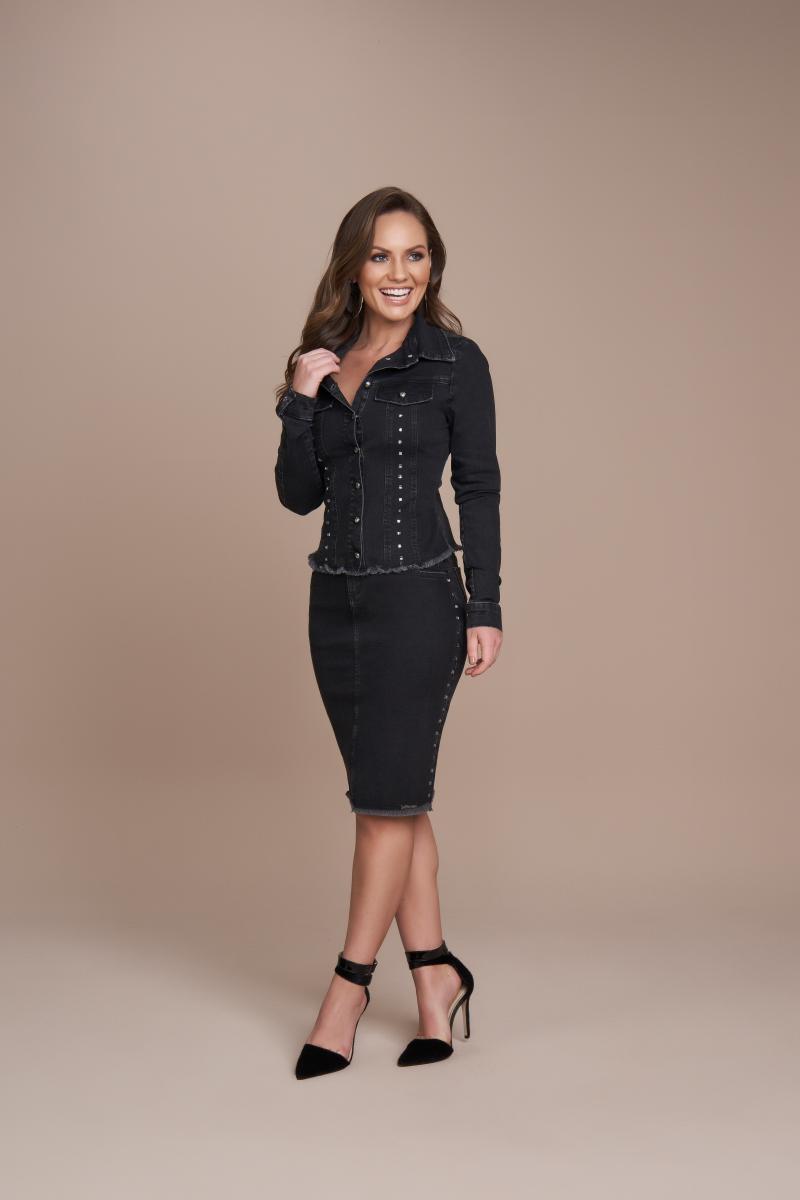 Saia jeans tradicional 55cm, moda evangélica - titanium