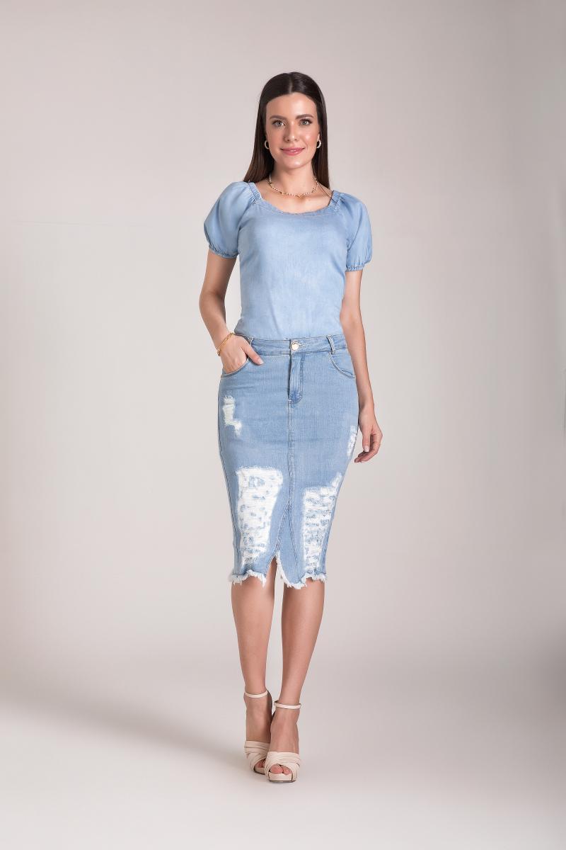 Saia Jeans Tradicional 67cm, Moda Evangélica - Laura Rosa