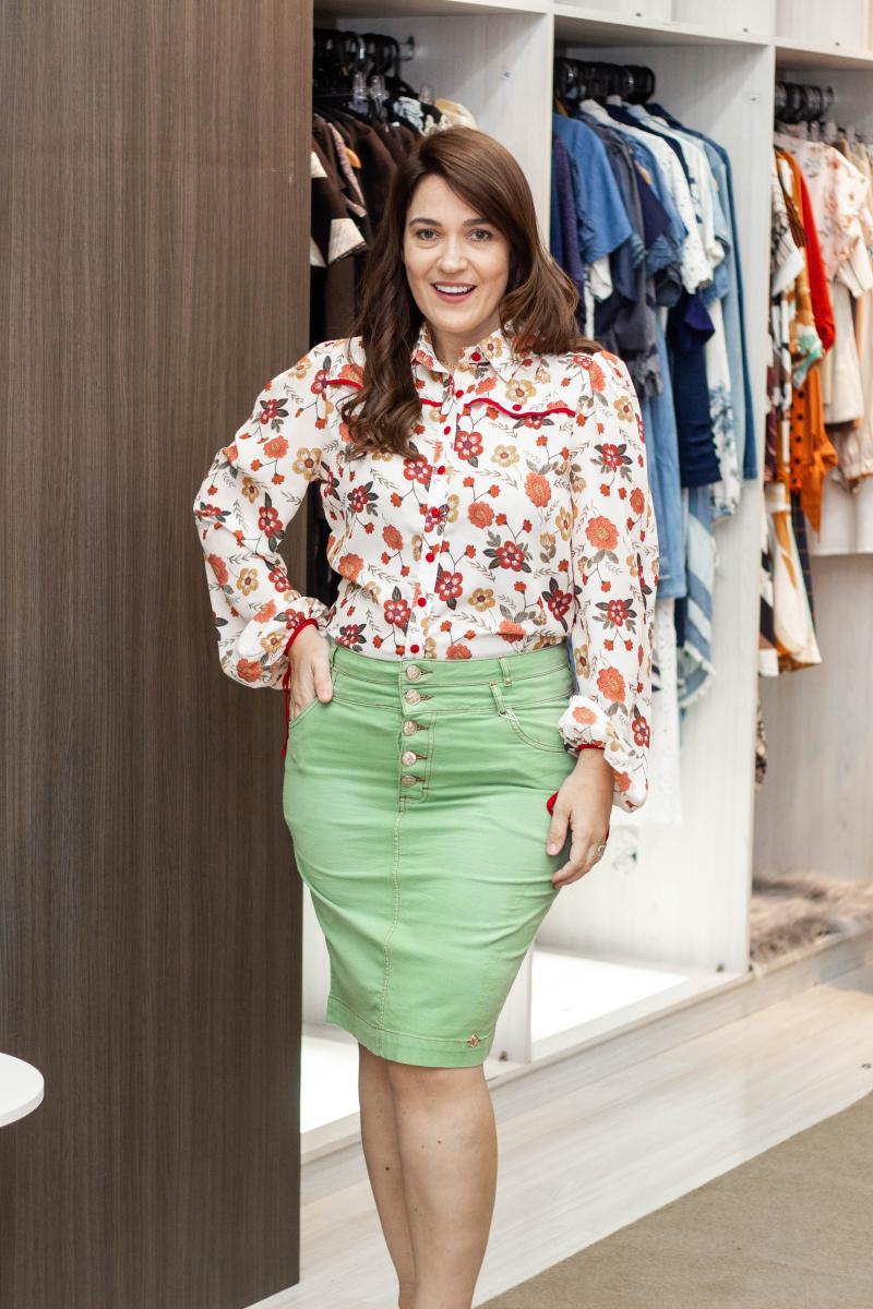 Saia Jeans Tradicional Collor 55cm, Moda Evangélica - Laura Rosa