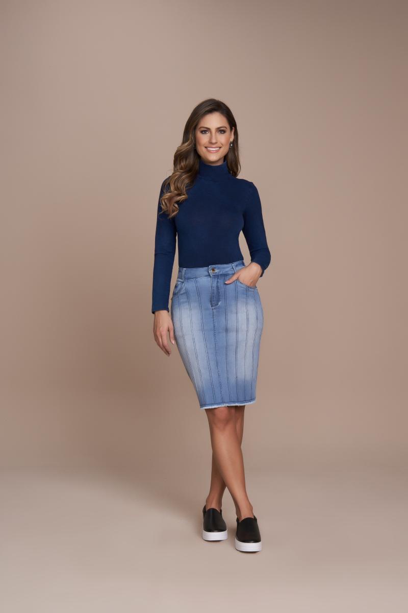 Saia Jeans Tradicional Com Nervuras, Moda Evangélica - Titanium