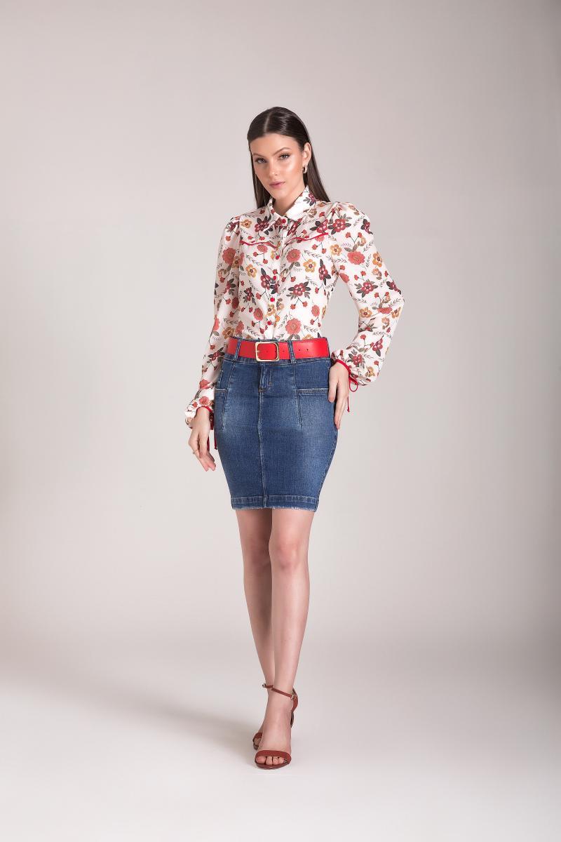 Saia Jeans Tradicional Com Recorte Na Lateral, Moda Evangélica - Laura Rosa