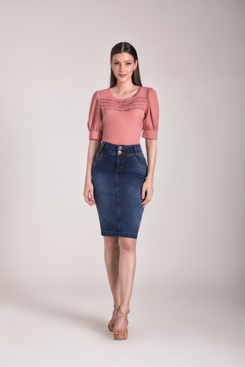 Saia Jeans Tradicional, Moda Evangelica - Laura Rosa