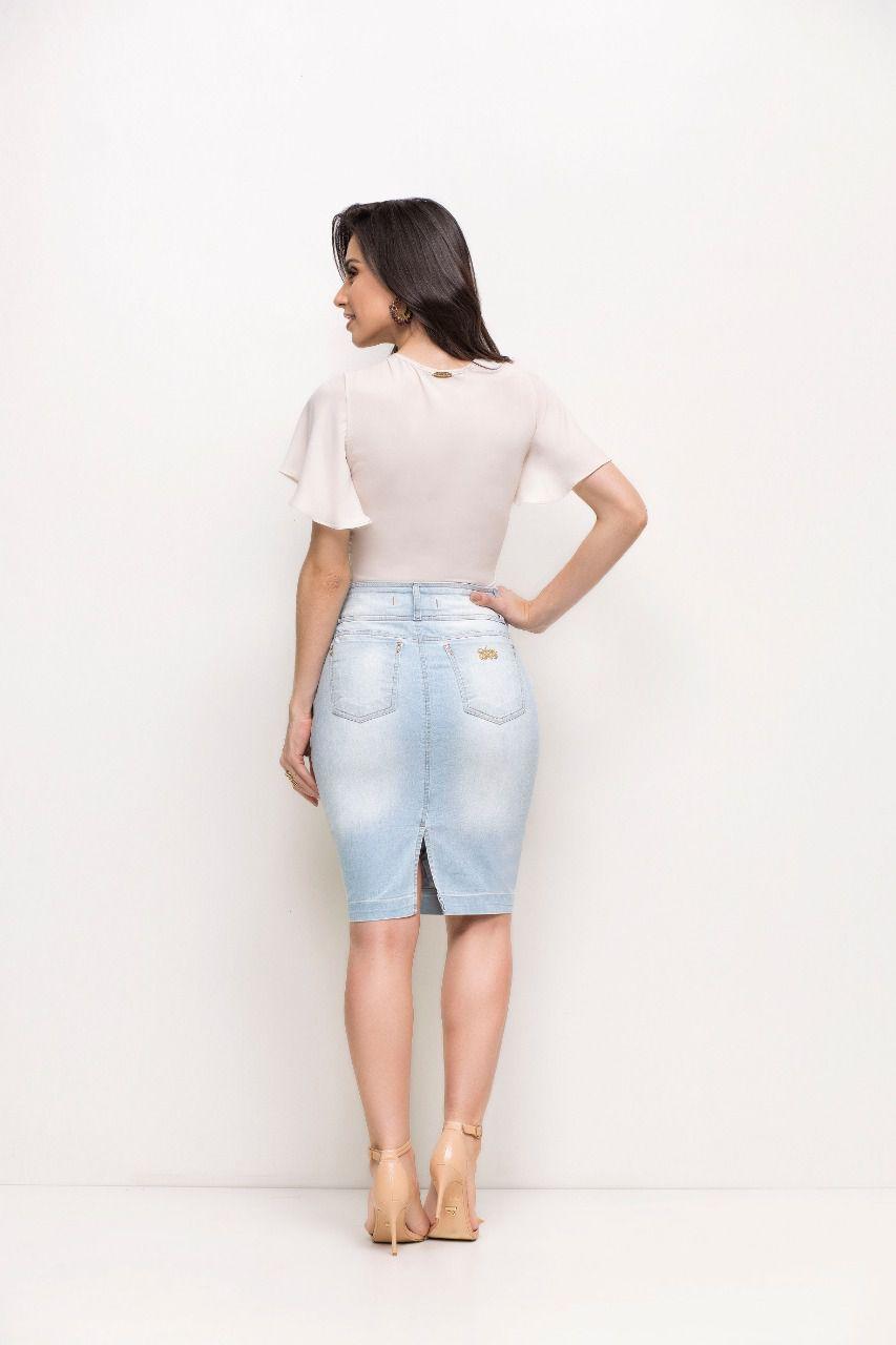 Saia Laura Rosa Jeans Com Drapiado No Bolso