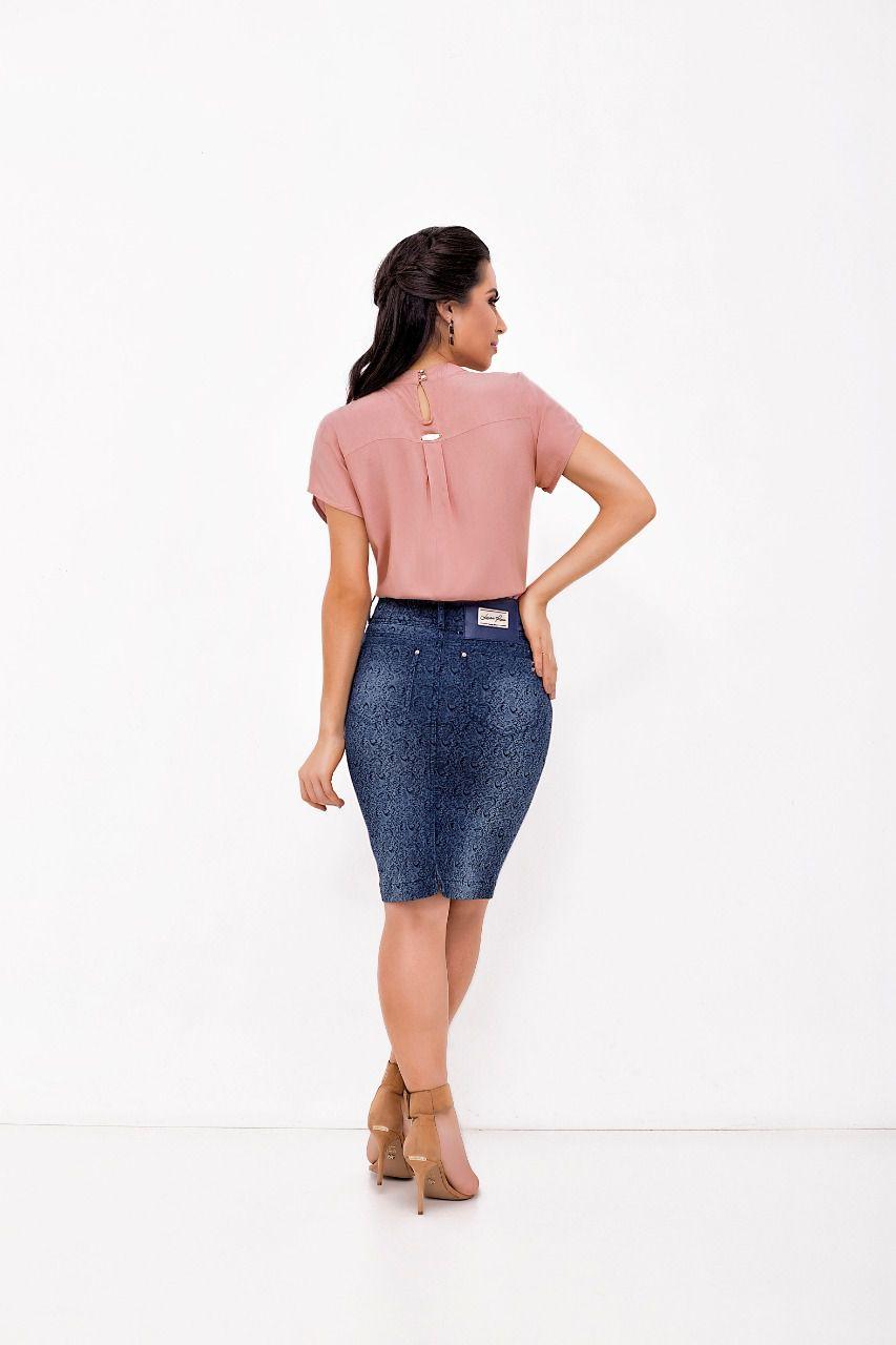 Saia Laura Rosa Jeans com Estampa