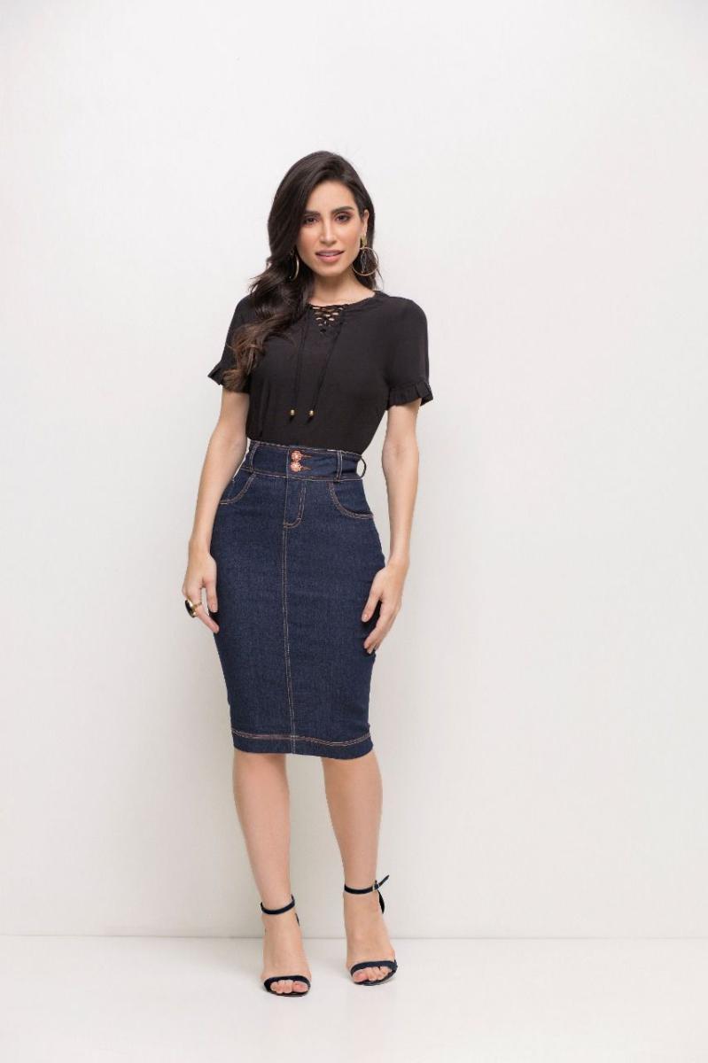 Saia Laura Rosa Jeans Tradicional Midi