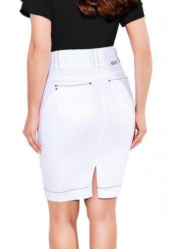 Saia Titanium Jeans Branca Com Pesponto Preto