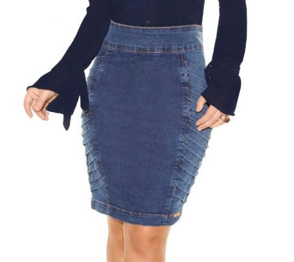 Saia Titanium Jeans Com Drapiado Lateral