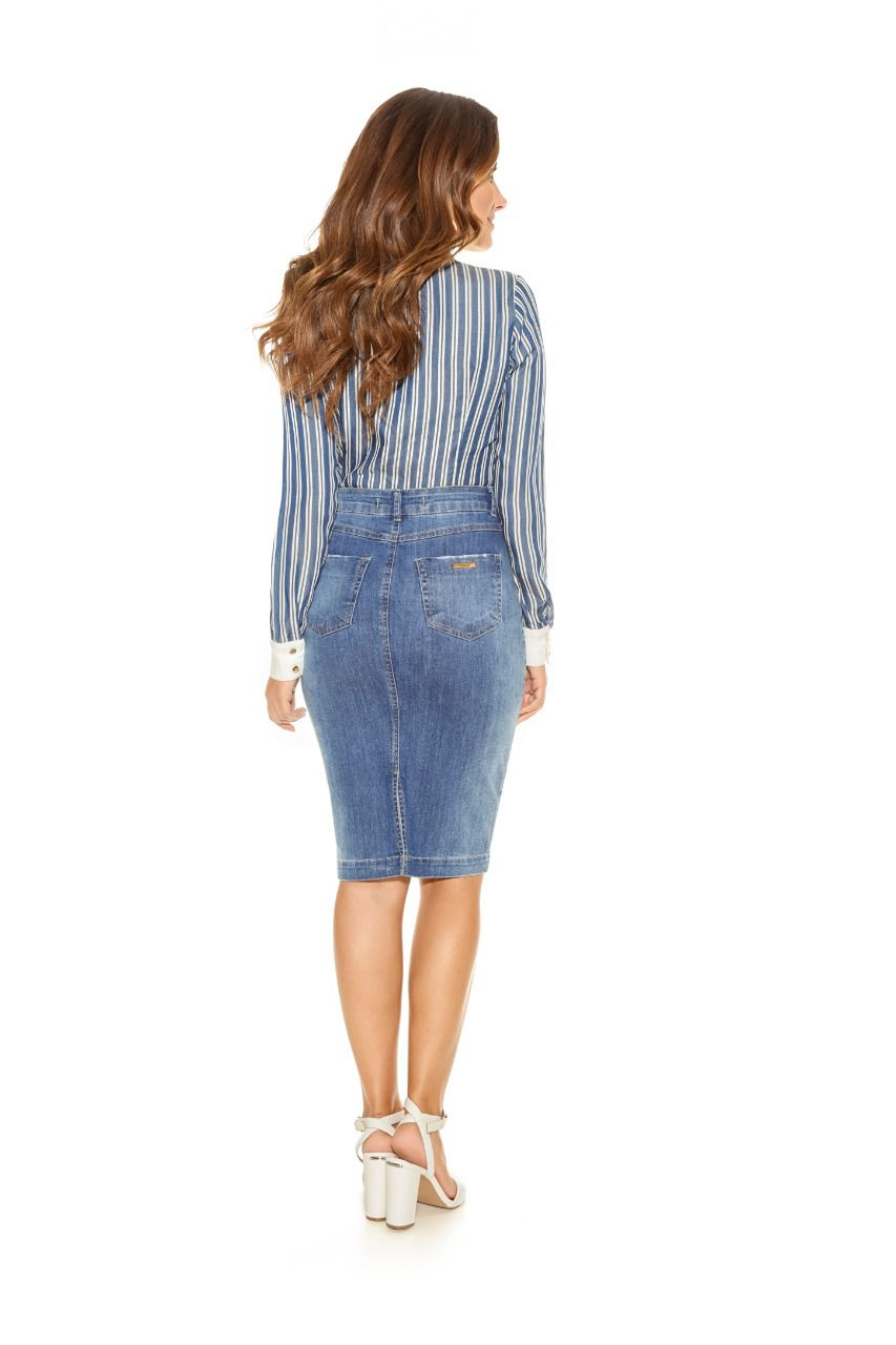 Saia Titanium Jeans Midi com Botões