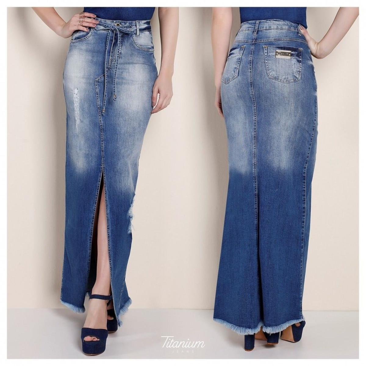 Saia Titanium Longa Jeans Com Fenda Frontal