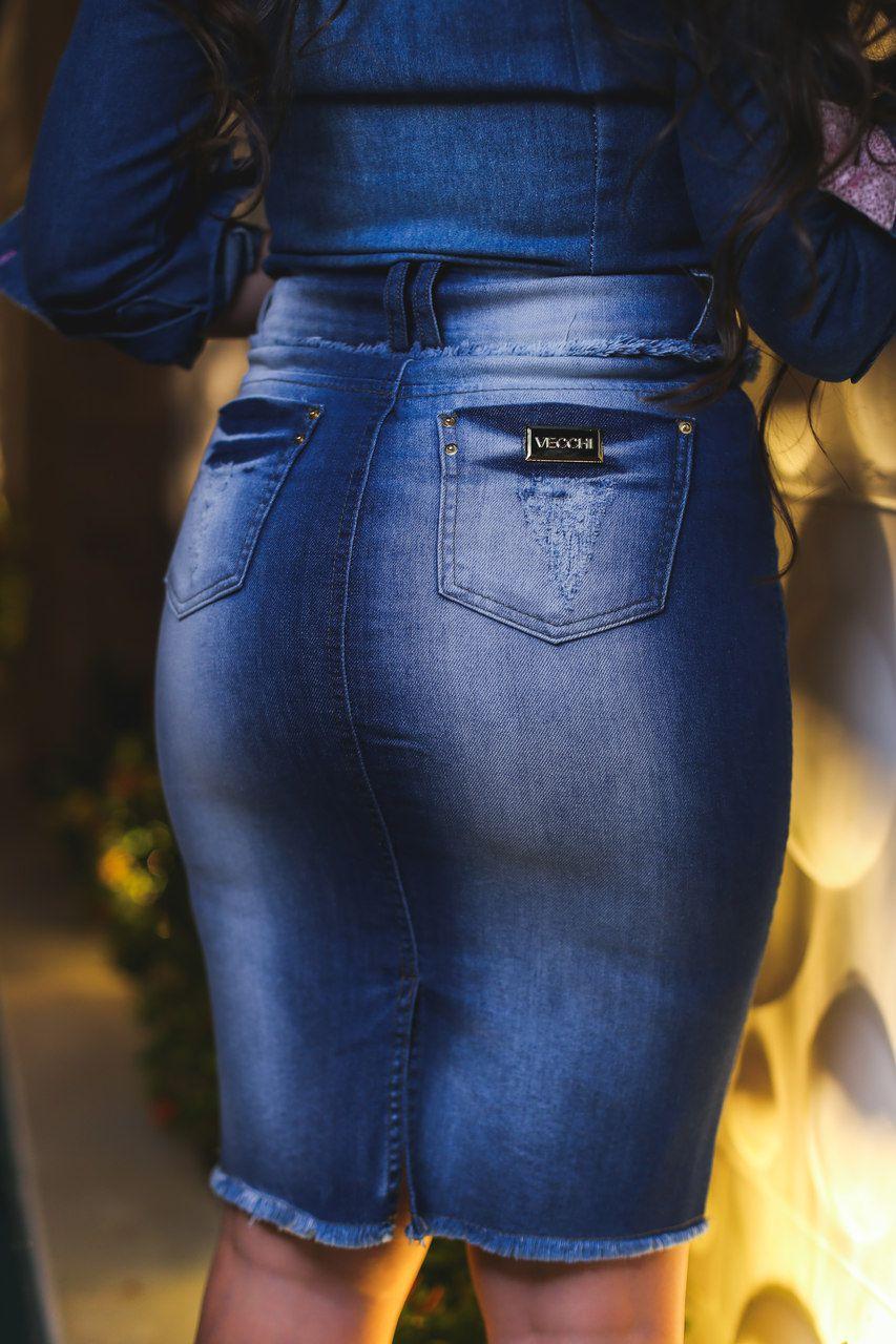 Saia Vecchi Jeans Lápis com Destroyed