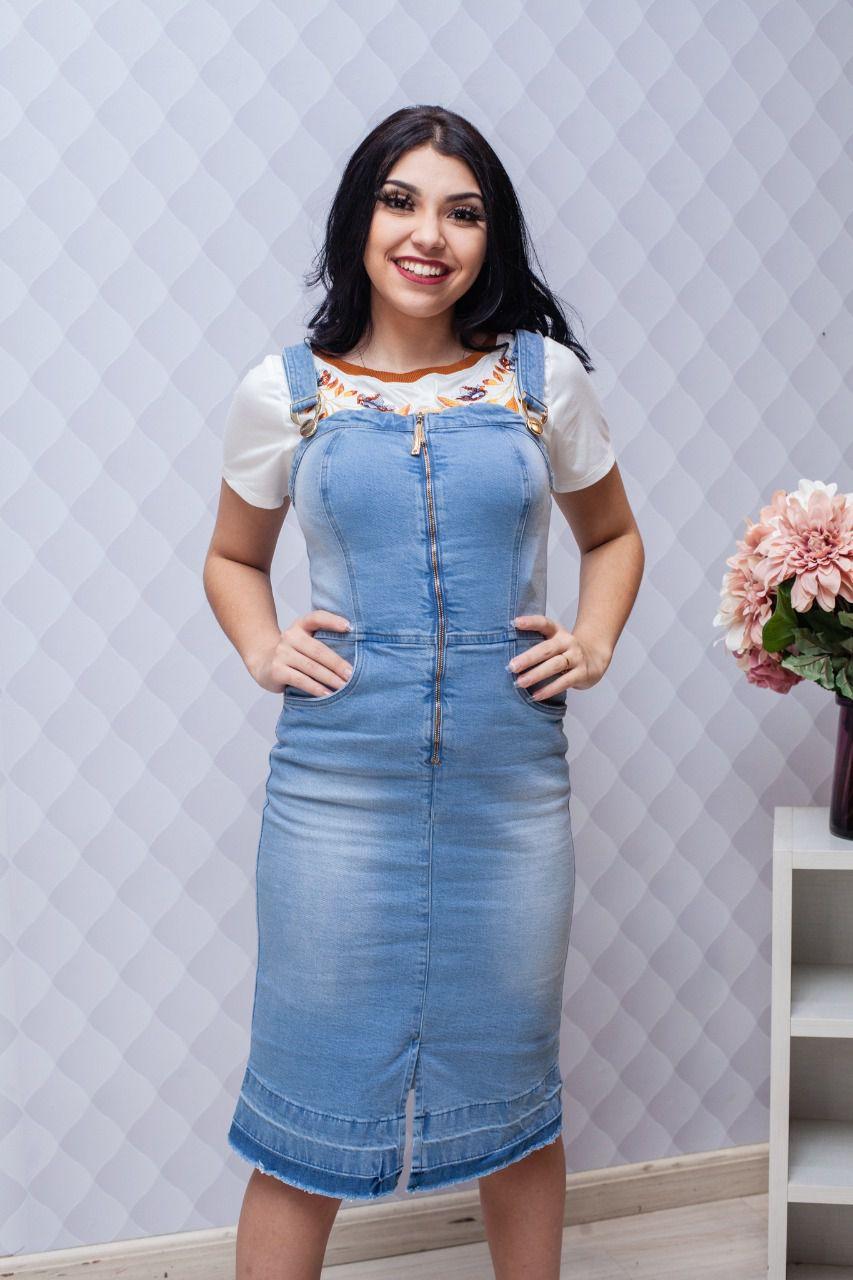 Salopete Jeans Com Fenda Frontal - Titanium
