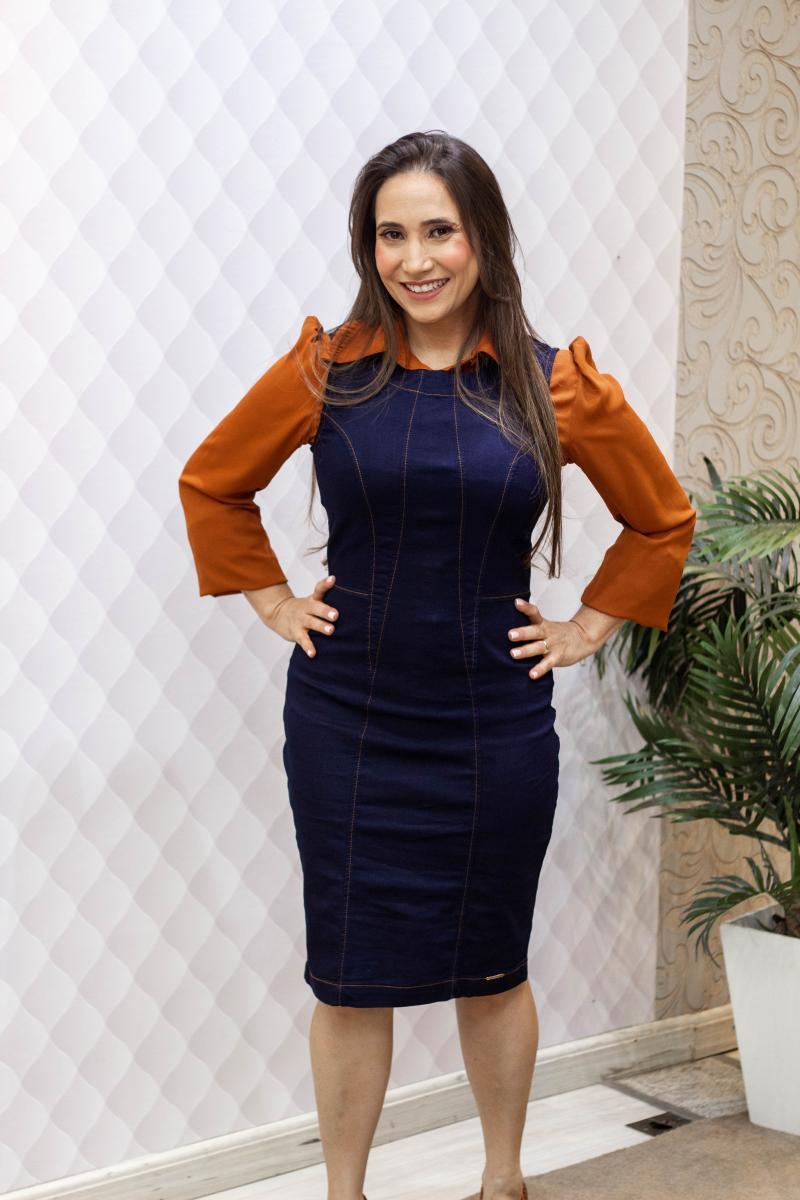Salopete Jeans Com Recortes 100cm, Moda Evangélica - Laura Rosa