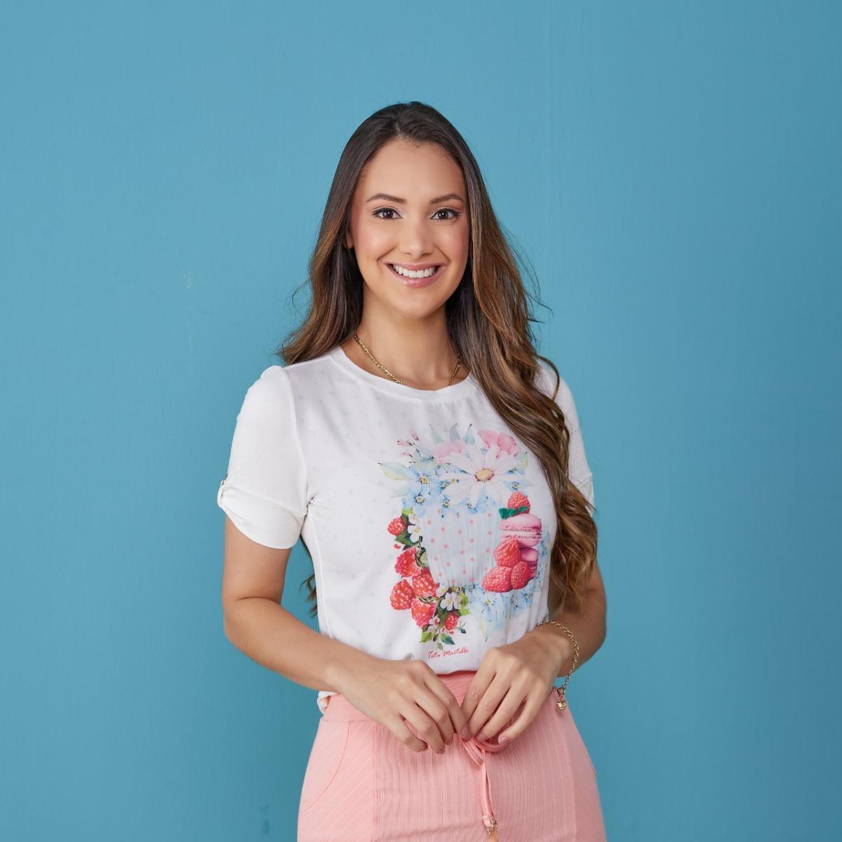 T-shirt Celeste Estampada - Tatá Martello