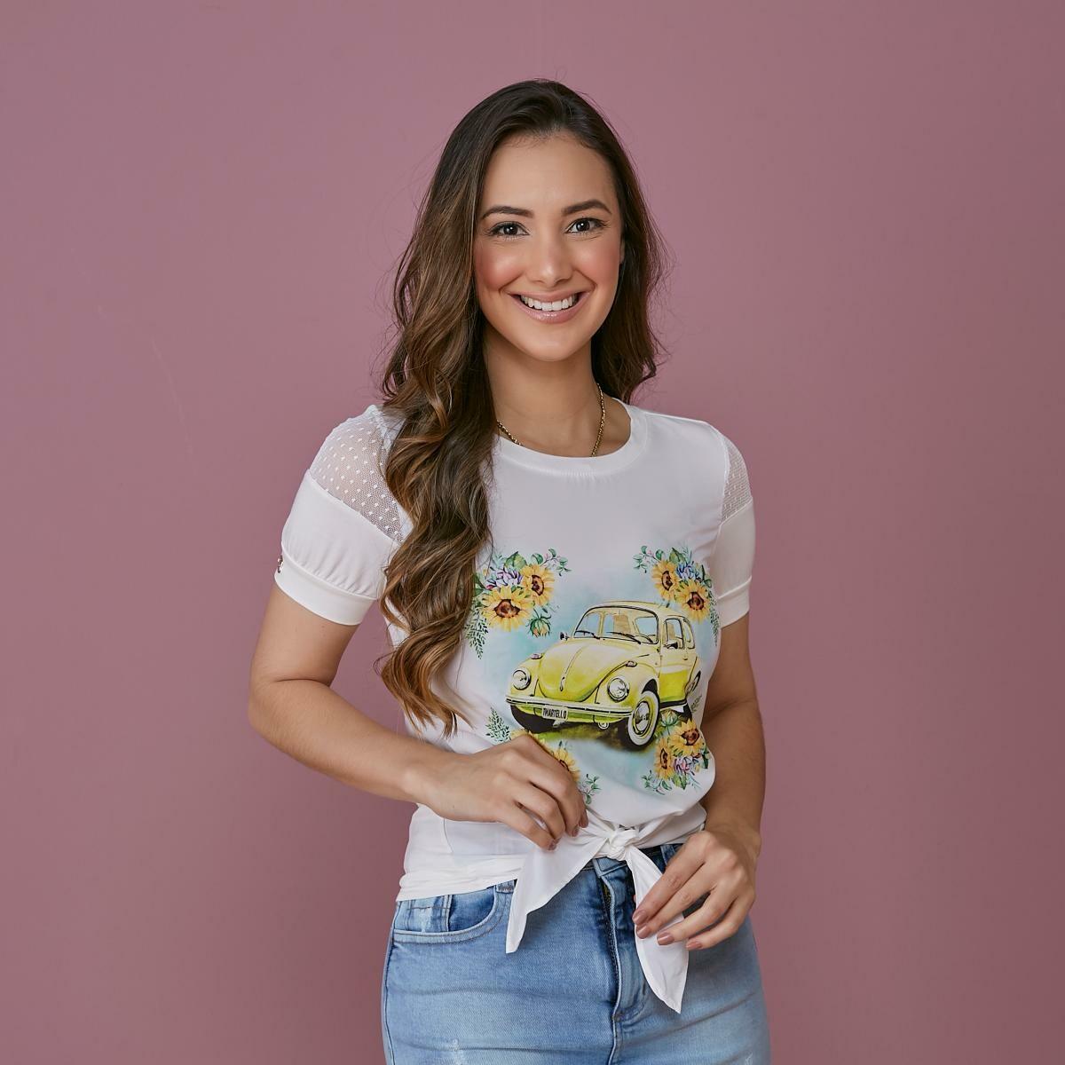 T-shirt Estampada Com Amarração Na Barra - Tata Martello