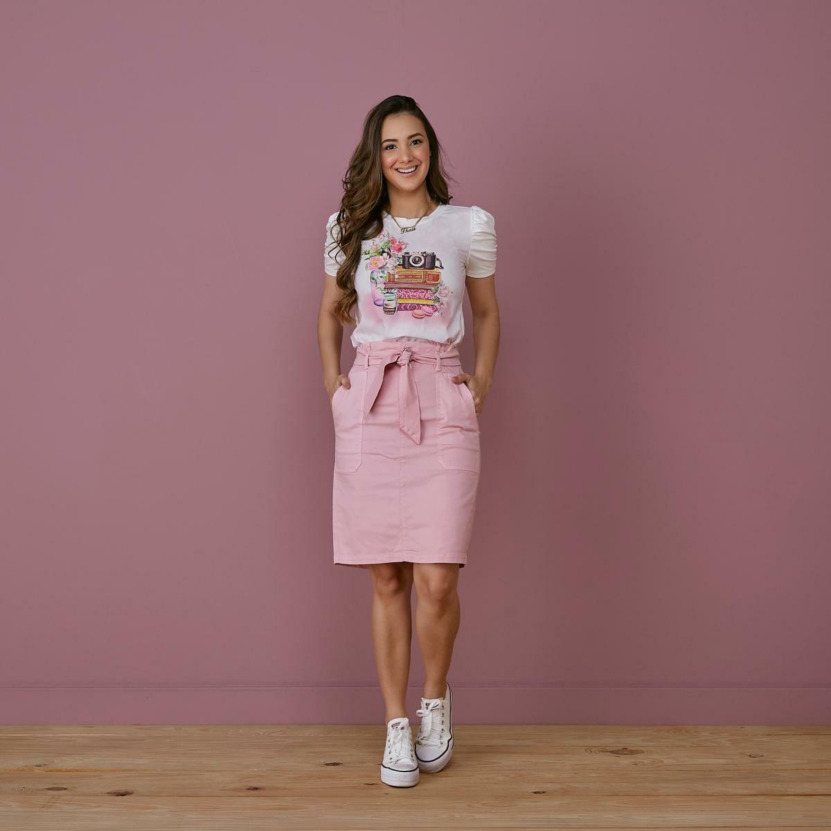 T-shirt Estampada Com Aplicação - Tata Martello