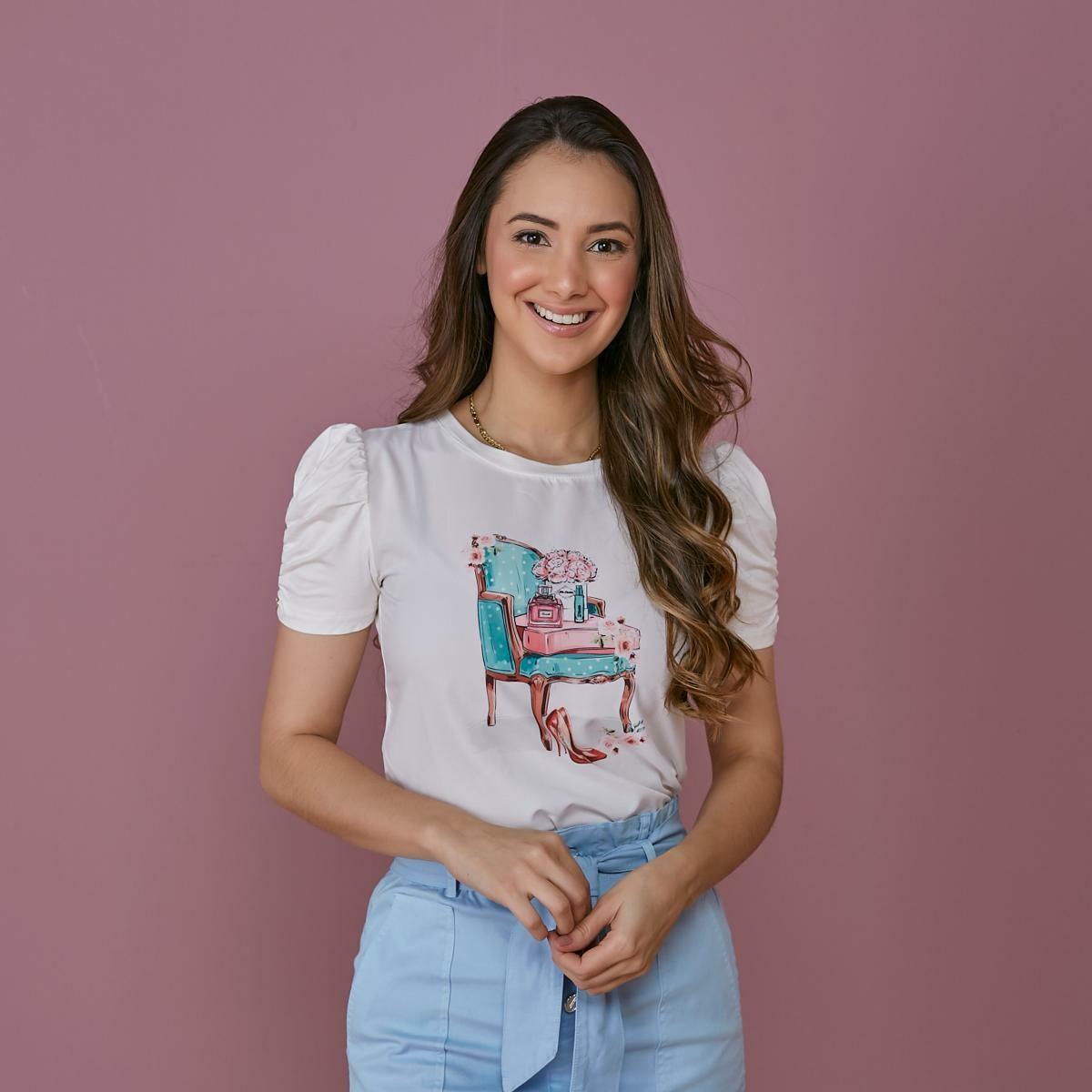 T-shirt Estampada Manga Franzida - Tatá Martello