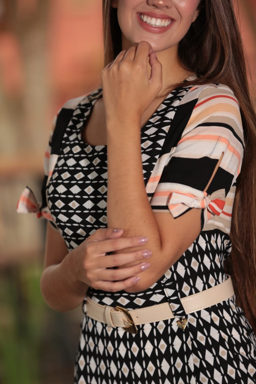 Vestido Alfaiataria Estampado - Cechiq