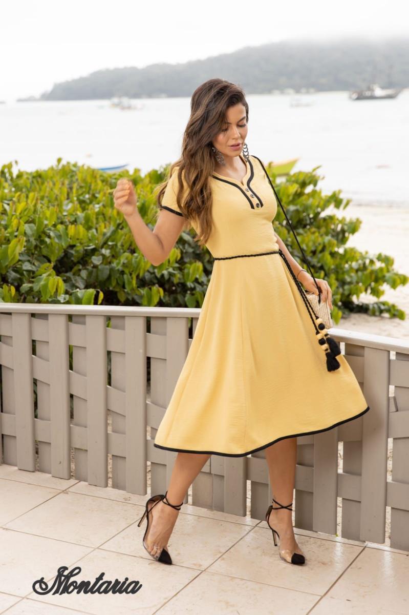 Vestido Alfaiataria Trapézio Com Detalhe No Decote, Moda Evangélica - Montaria