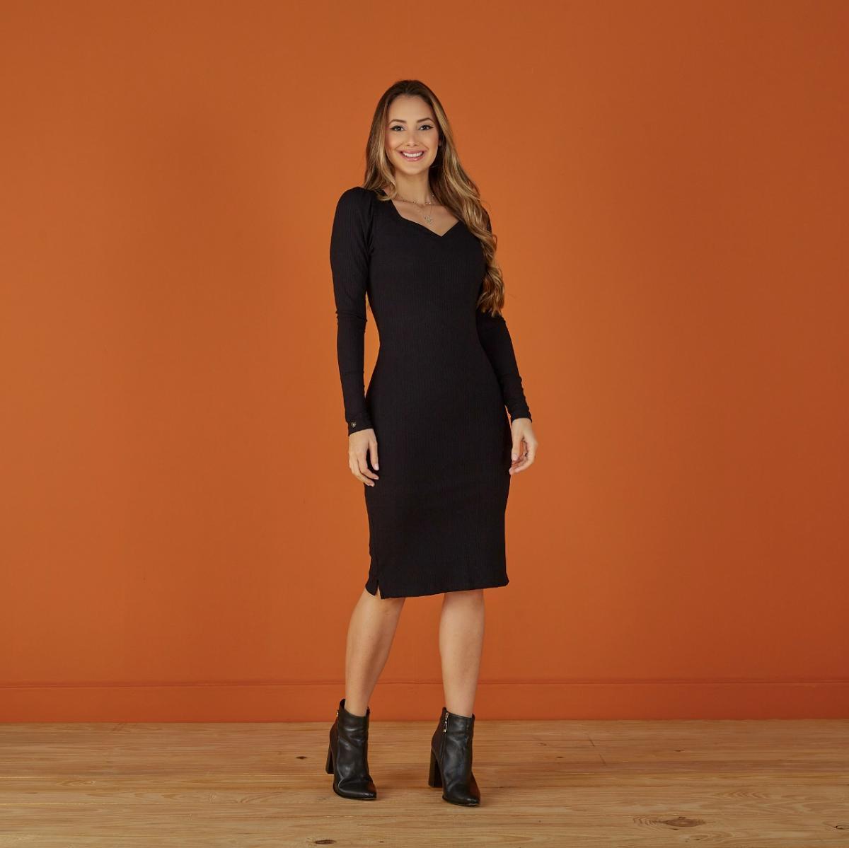 Vestido Aline Na Malha Canelada Premium, Moda Evangélica- Tatá Martello