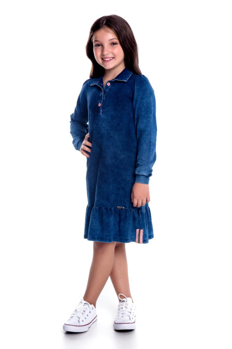 Vestido Ana Alice Malha Jeans Infantil, Moda Evangélica - Hapuk