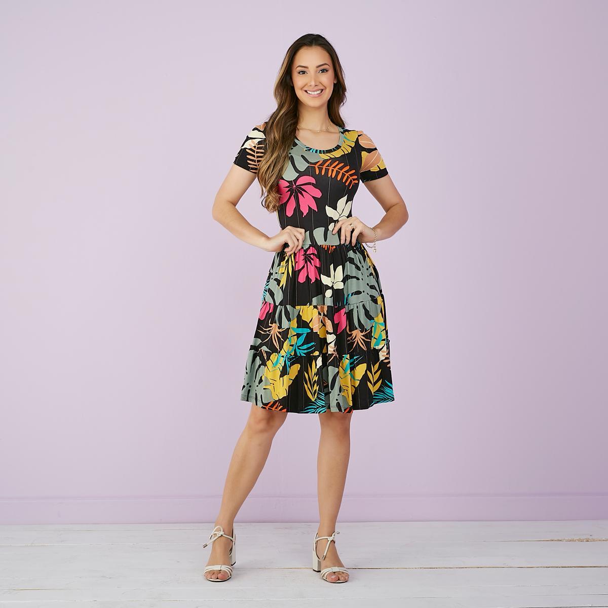 Vestido Ana Rosa Malha Estampada, Moda Evangélica - Tatá Martello