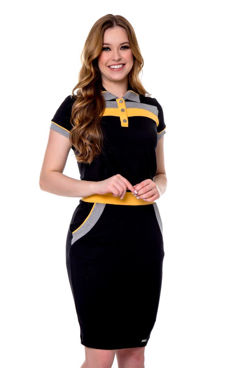 Vestido Ariadne de Malha Gola Polo, Moda Evangélica - Hapuk