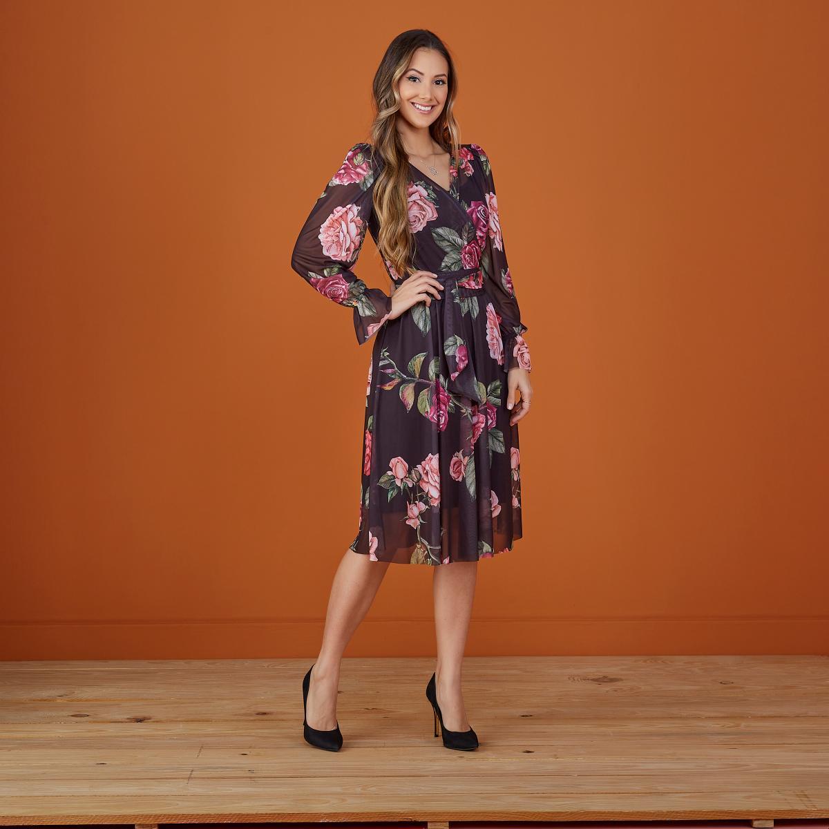 Vestido Cecilia Decote Transpassado, Moda Evangélica - Tatá Martello