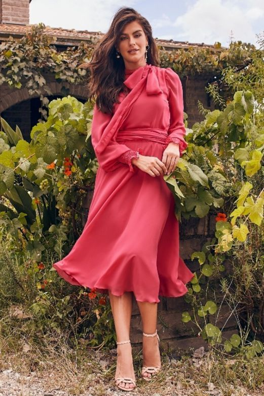 Vestido Com Laço Na Gola - Jany Pim
