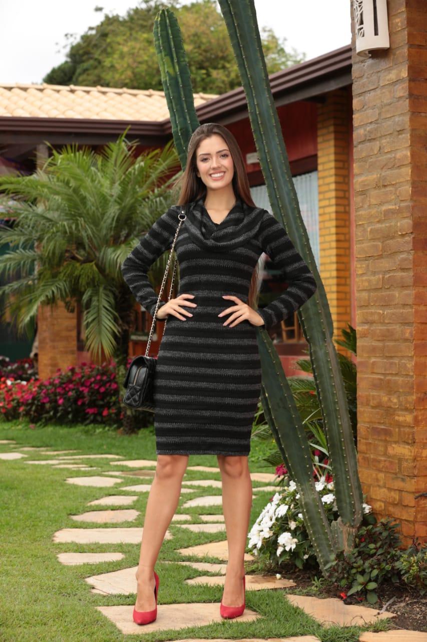 Vestido De Lã Com Lorex - Cechiq