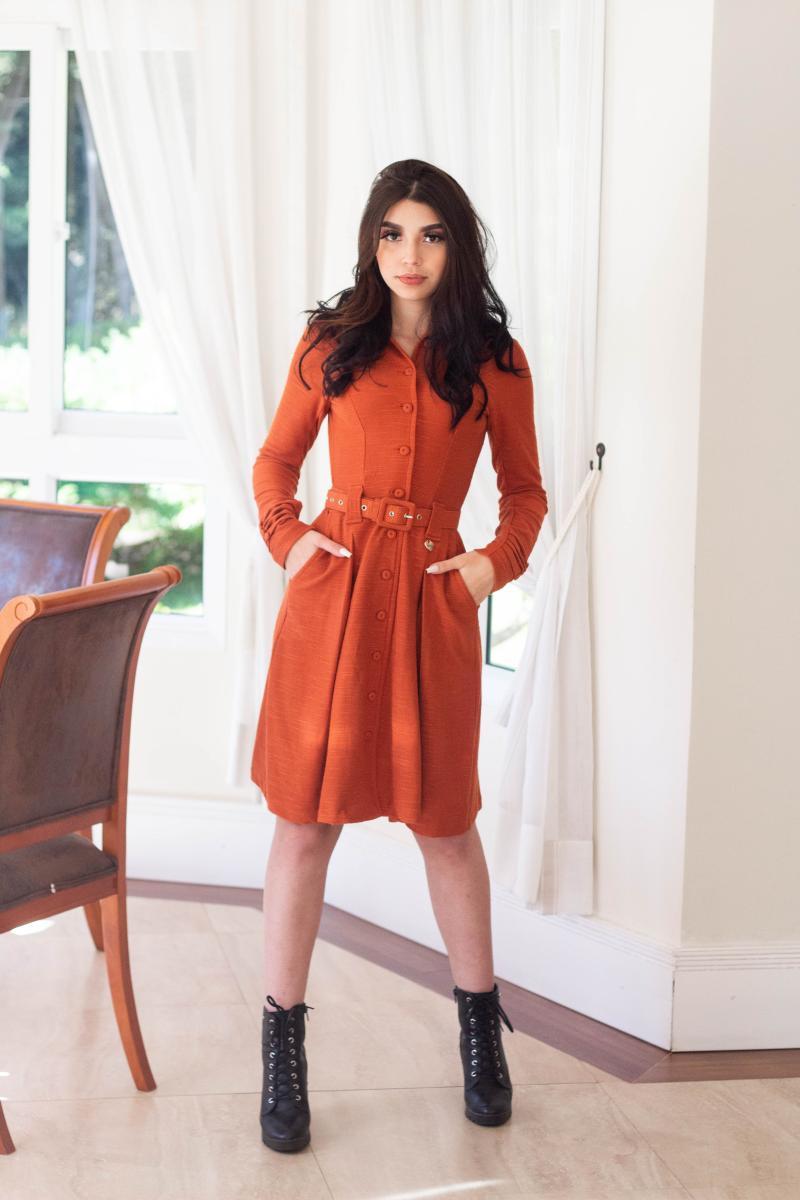 Vestido De Lazinha Com Cinto, Moda Evangélica - Cechiq