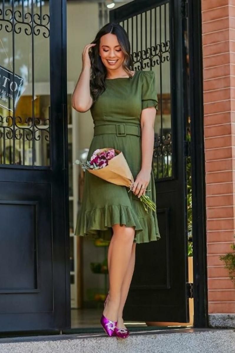 Vestido De Linho Com Babado - jany pim